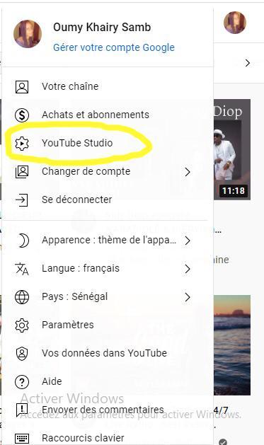 image YouTube studio