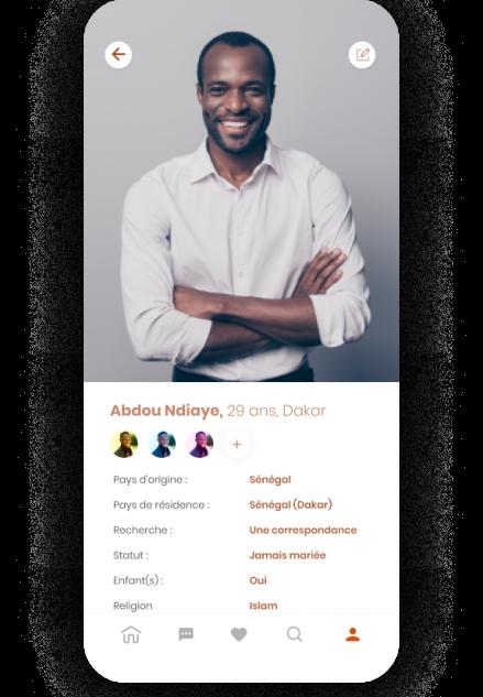 Page profil Dadjee Application mobile de rencontre mobile développé par Volkeno
