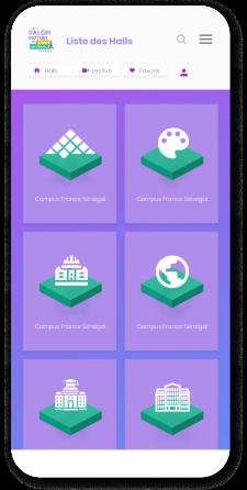 Version mobile du salon virtuel de Campus France développé par LevelUp by Volkeno